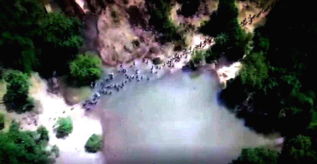 Photos taken by drone cameras deployed by the police show Maoists crossing a swamp in the Palodi forest area under Kishtaram police station in Sukma district of Chhattisgarh, alerting border ...