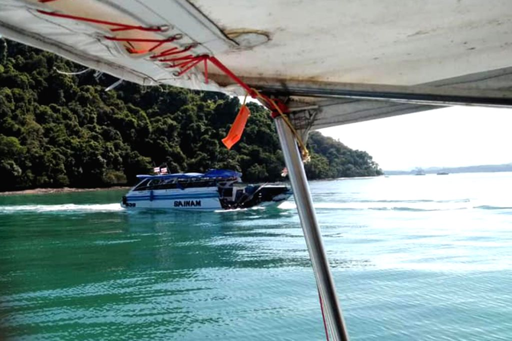 PHUKET, Feb. 10, 2019 - Photo taken on Feb. 9, 2019 shows the damaged speedboat at sea area near the Phuket Island, Thailand. A total of 11 Chinese tourists and two crew members were injured after a ...