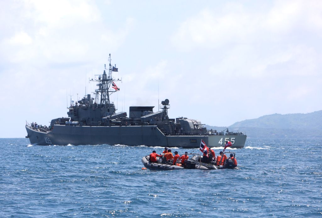PHUKET, July 7, 2018 - Members of Thai rescue team search for missing passengers from the capsized boat in the accident area in Phuket, Thailand, July 7, 2018. Phuket Governor Norraphat Plodthong ...