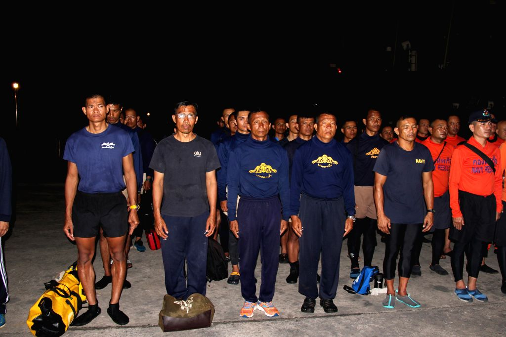 PHUKET (THAILAND), July 15, 2018 Thai Navy rescue forces attend a mourning ceremony at Phuket Deep Sea Port in Phuket, Thailand, on July 15, 2018. A body that had been trapped under a ...