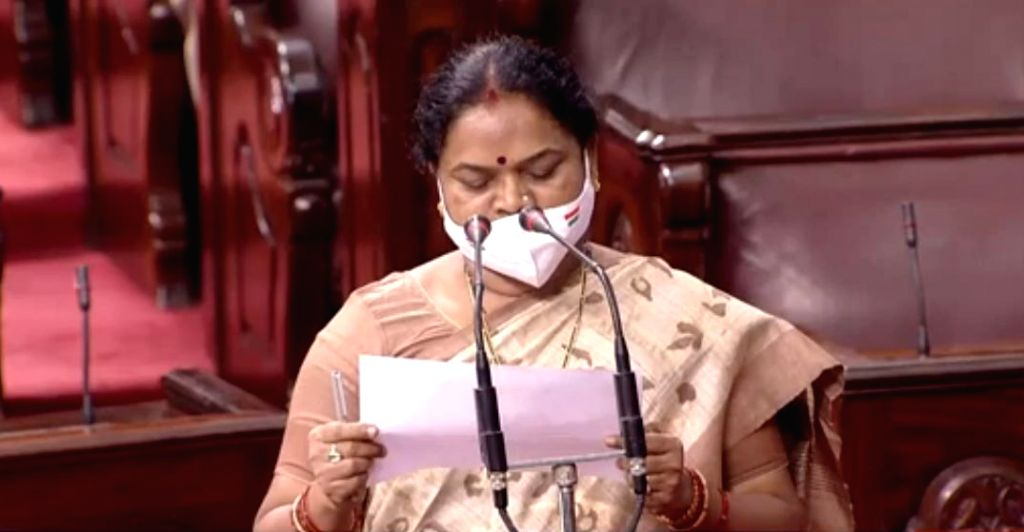 Phulo Devi Netam takes oath as Rajya Sabha member from Chhattisgarh, on the first day of the Monsoon Session of Parliament, in New Delhi on Sep 14, 2020.