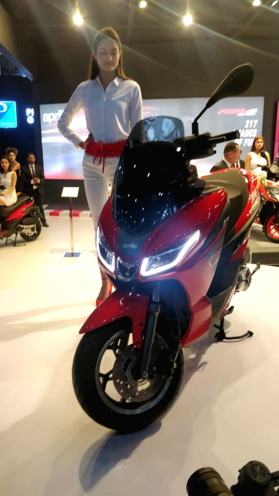 Piaggio India on Thursday unveiled premium scooter Aprilia SXR 160 which is slated for commercial launch in Q3, 2020; at the Auto Expo 2020 in Greater Noida on Feb 6, 2020.