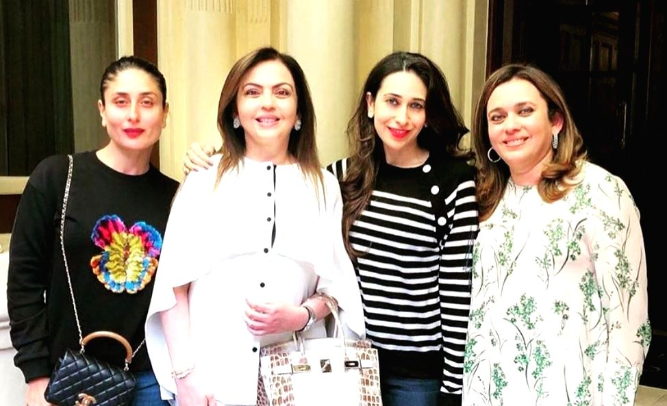 Pictures of Reliance Foundation Chairperson Nita Ambani's over 200-diamond encrusted Hermès Himalaya Birkin bag, worth over Rs 2.6 crore, has gone viral on the social media.  In the images posted on the social media, Nita Ambani is seen wearin - Nita Ambani, Karisma Kapoor and Kareena Kapoor Khan