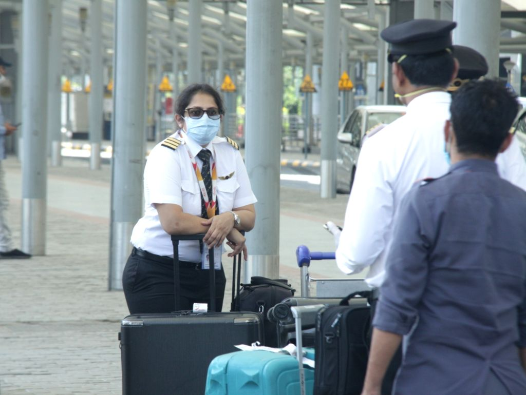 Pilots and aircraft crew arrive at Indira Gandhi International Airport to bring back Indian nationals stranded abroad, due to the coronavirus lockdown in New Delhi on May 8, 2020.