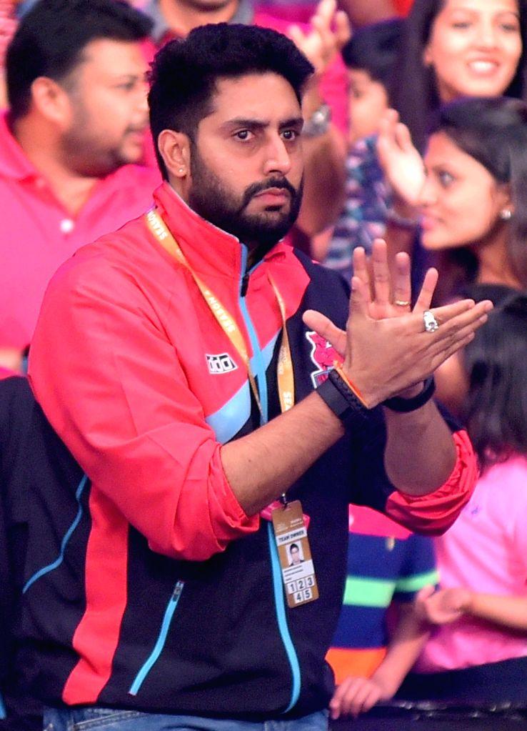 Pink Panthers co-owner and actor Abhishek Bachchan during a Pro Kabaddi League match between  Jaipur Pink Panther and Bengaluru Bulls at Sawai Mansingh Stadium in Jaipur, on June 30, 2016. - Abhishek Bachchan
