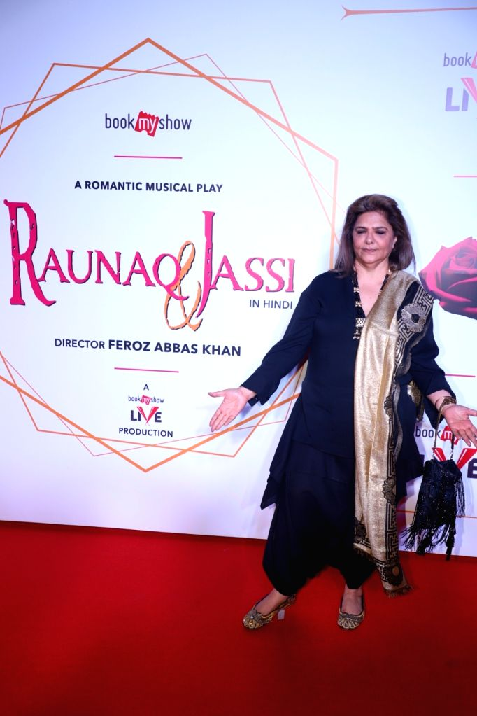 "Pinky Roshan, mother of  Hrithik Roshan during screening of Feroz Abbas Khan's play ""Raunaq and Jassi"" in Mumbai on Nov 28, 2019. - Hrithik Roshan and Feroz Abbas Khan"