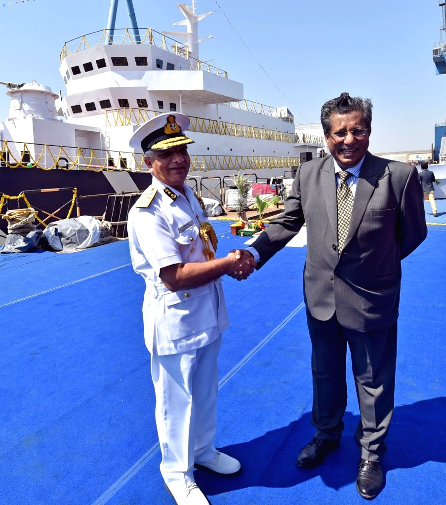 :Pipavav: Indian Coast Guard Director General Rajendra Singh and Reliance Naval and Engineering Limited (RNEL) CEO Debashis Bir at the launch of ICGS Varuna, an indigenously-designed training ...