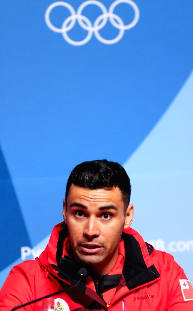 Pita Taufatofua, a Tongan cross country skier for the PyeongChang Olympics, speaks during a news conference at the Main Press Center of the PyeongChang Winter Olympics in the alpine town ...