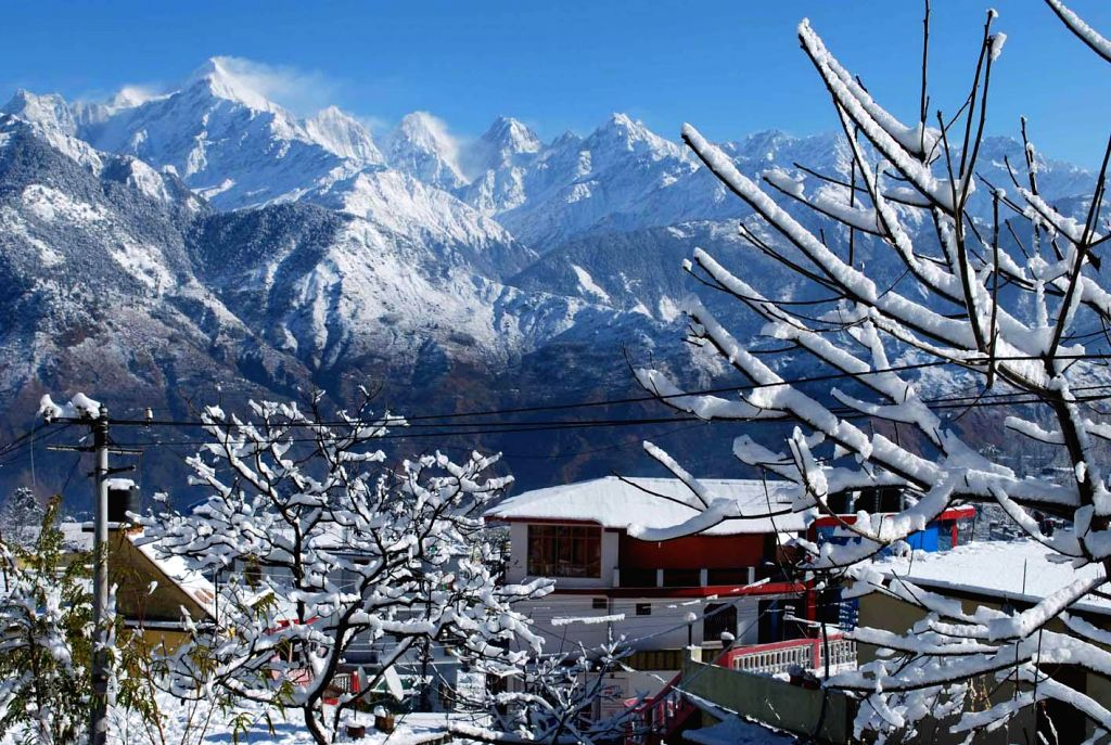 A view of snow clad mountains after snowfall in Pithoragarh, Uttarakhand on Dec 15, 2014.