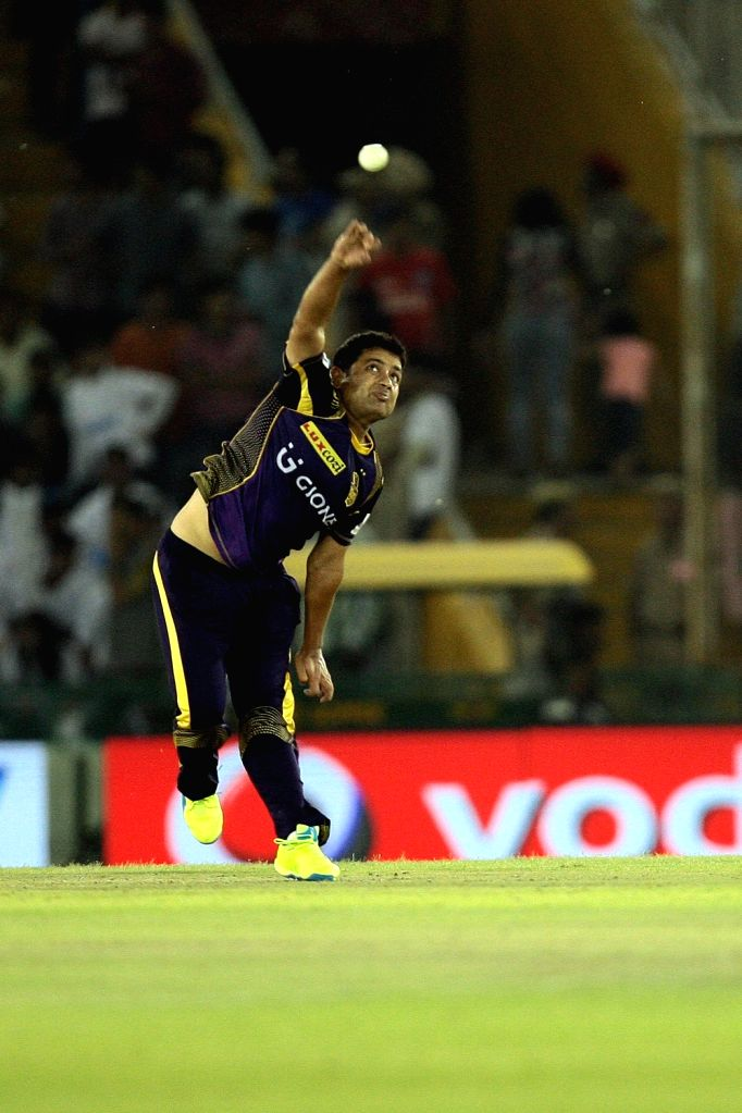 Piyush Chawla of Kolkata Knight Riders in action during an IPL match between Kings XI Punjab and Kolkata Knight Riders at Punjab Cricket Association IS Bindra Stadium in Mohali on April 19, ...