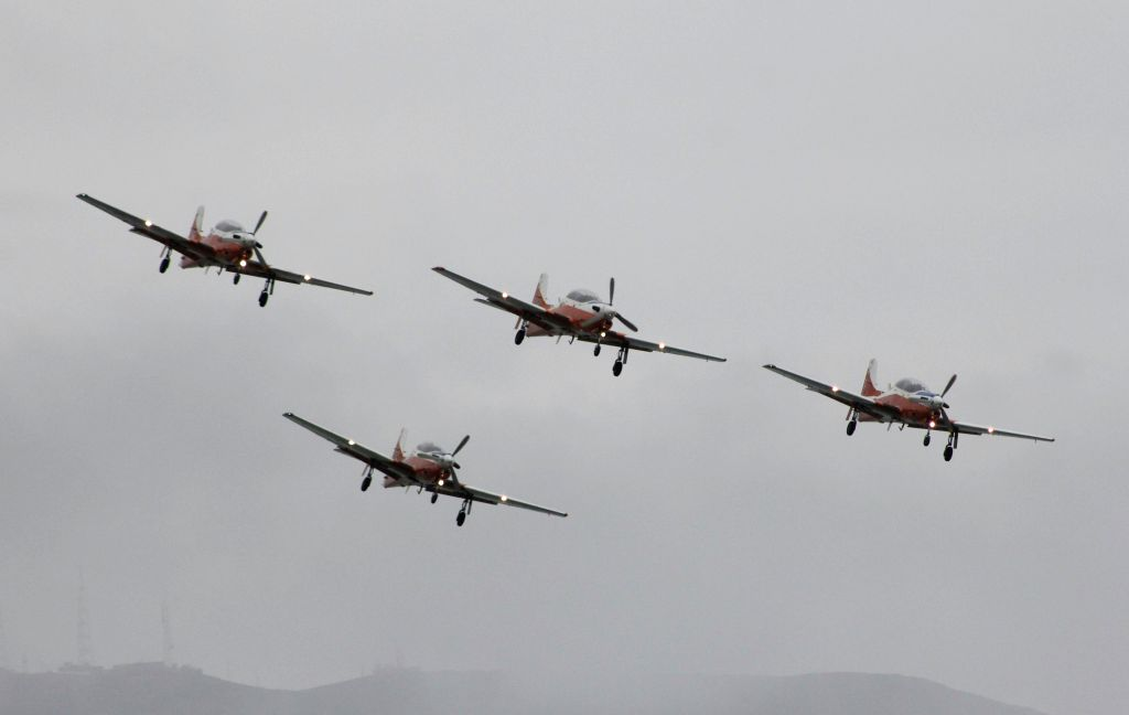 Planes of the Peruvian Army take part in an air and naval parade to mark the 194th anniversary of the country's independence in Lima, capital of Peru, on Aug. 2, 2015. ...