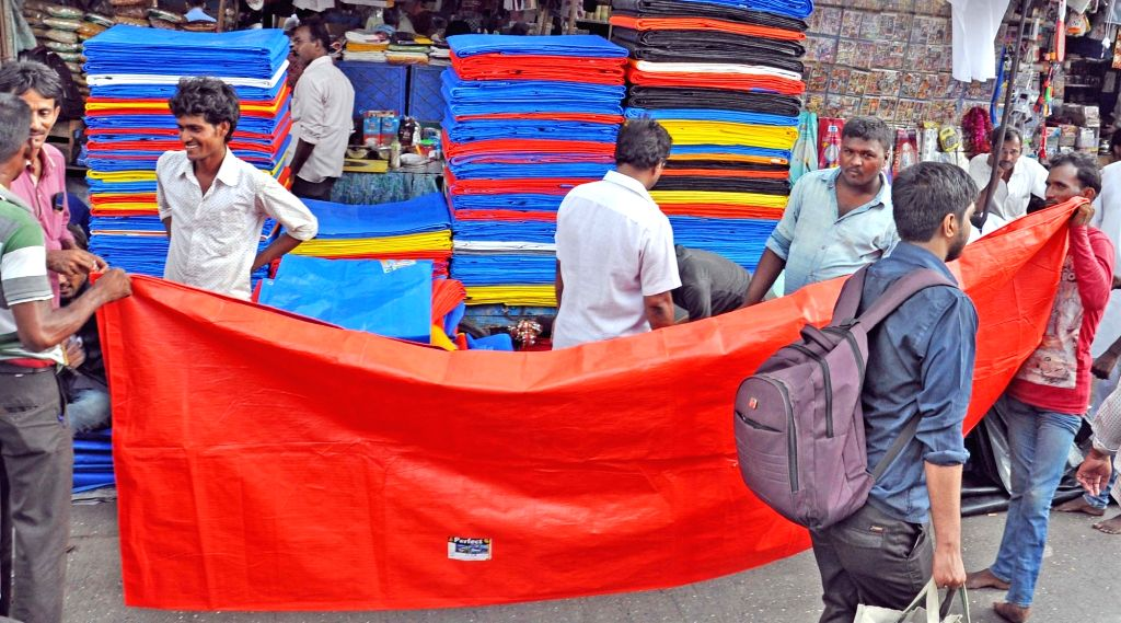Plastic sheets being sold near Masjid Bunder ahead of monsoon in Mumbai, on May 31, 2017.
