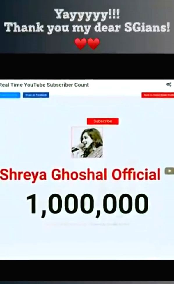 Playback singer Shreya Ghoshal is celebrating one million subscribers on her YouTube channel, Shreya Ghoshal official. The singer took to Twitter on Wednesday to express gratitude to fans - Shreya Ghoshal