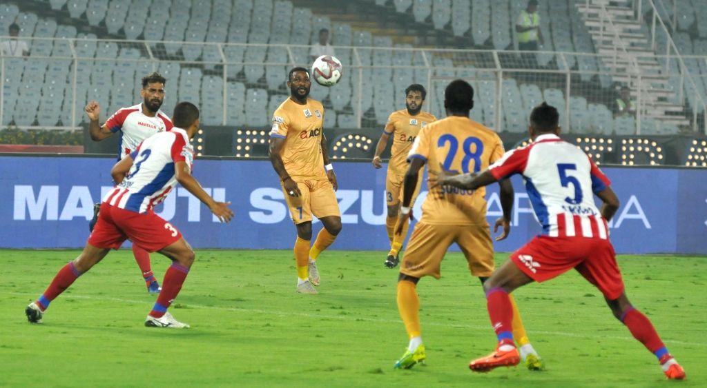 Player in action during an ISL 2019-20 match between ATK and Mumbai City FC at Salt Lake Stadium in Kolkata on Feb 22, 2019.