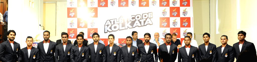 Players and officials  of Atletico de Kolkata during a press conference in Kolkata on Aug 22, 2014.
