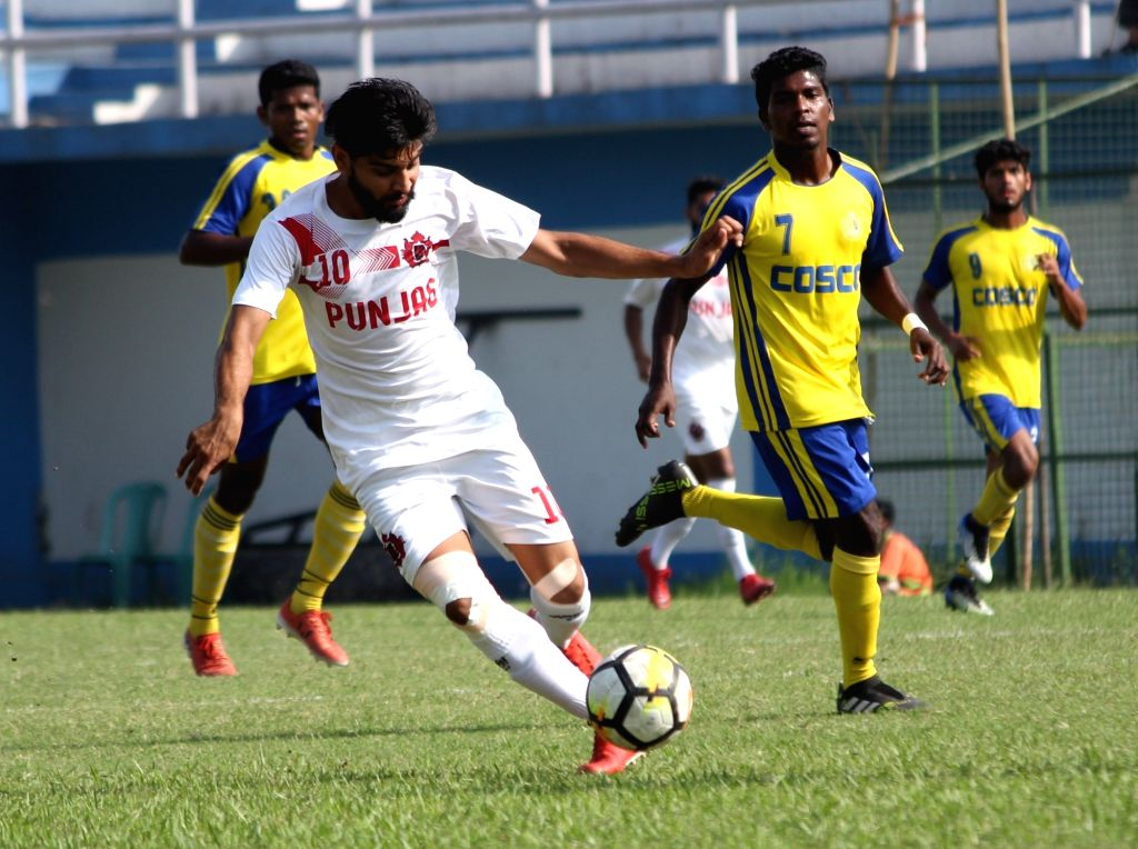 Players during a Santosh Trophy match between Goa and Punjab at Sailen Manna Stadium in Howrah on March 28, 2018.