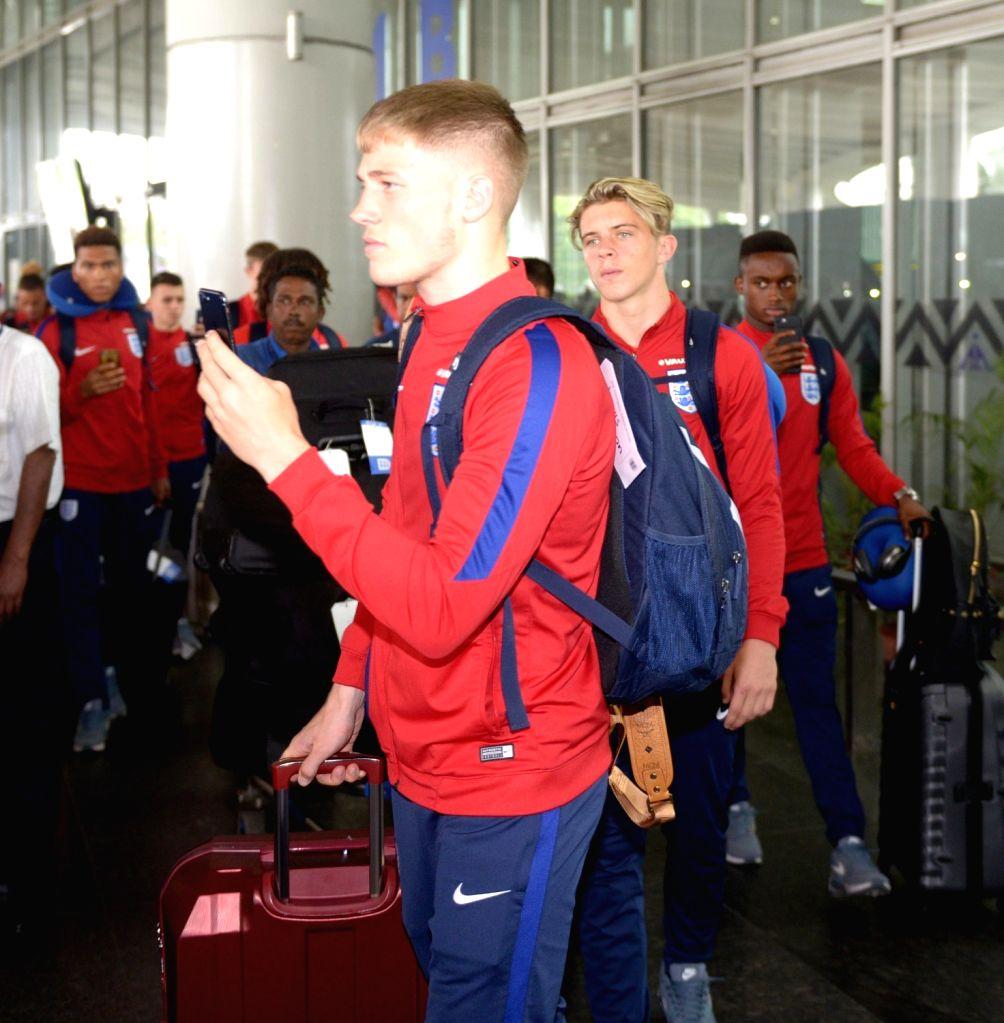 Players from England arrive at Netaji Subhas Chandra Bose International Airport ahead of U17 World Cup in Kolkata, on Oct 3, 2017.