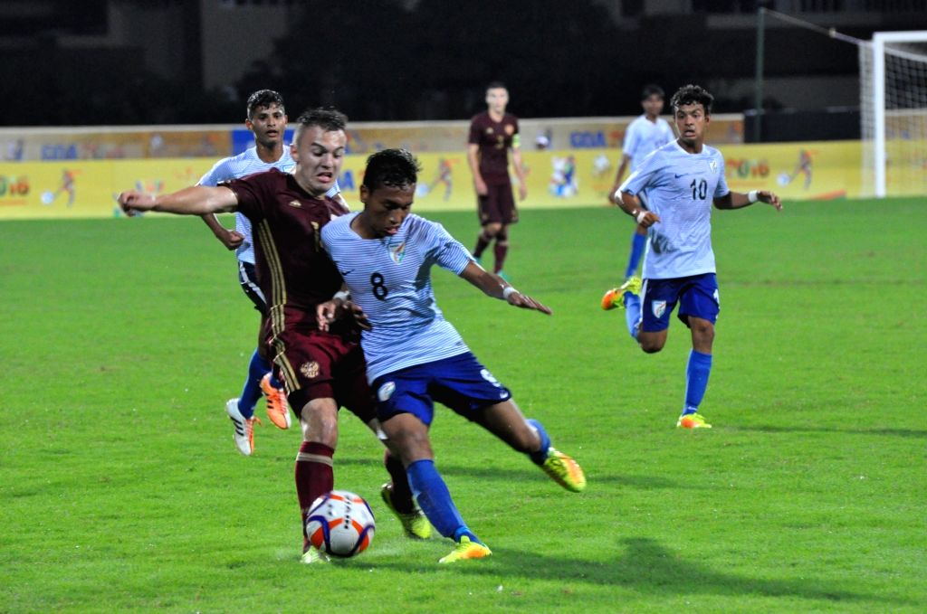 Players in action during 1st BRICS U17 football tournament between India and Russia at Bambolim on Oct 5, 2016.