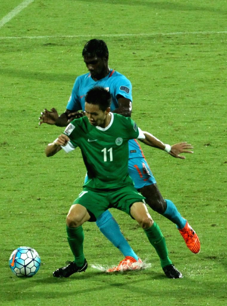 Players in action during 2019 AFC Asian Cup qualifier match between India and Macau at Kanteerava Stadium in Bengaluru, on Oct 11, 2017.