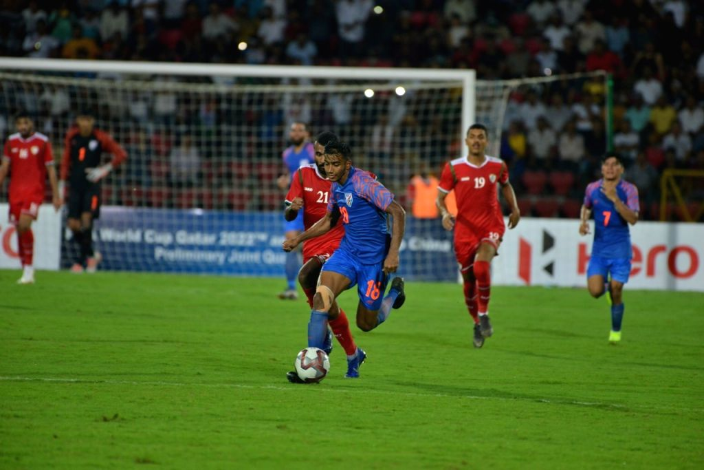 Players in action during 2022 FIFA World Cup Qualifier match between India and Oman at the Indira Gandhi Athletic Stadium in Guwahati on Sep 5, 2019.