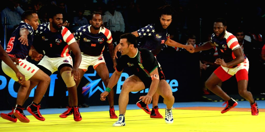 Players in action during a 2016 Kabaddi World Cup match between  Iran and USA in Ahmedabad on Oct 7, 2016. Iran won. Score: 27-8.