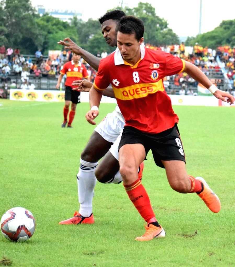 Players in action during a Durand Cup match between East Bengal F.C. and Army Red at Salt Lake Stadium in Kolkata on Aug 3, 2019.