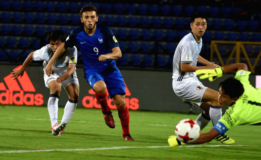 Players in action during a FIFA U-17 World Cup Group E match between France and Japan in Guwahati on Oct 11, 2017.