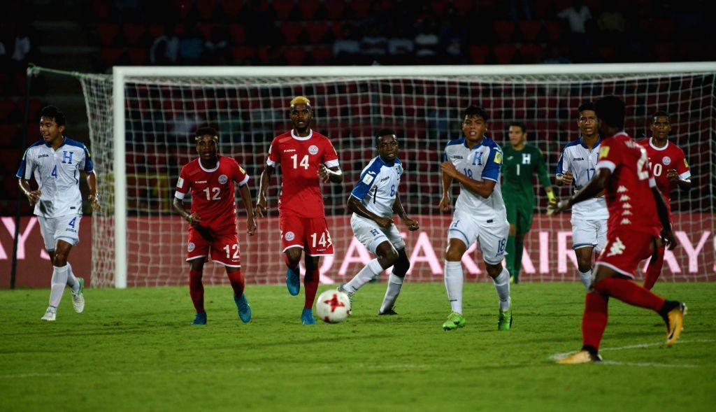 Players in action during a FIFA U-17 World Cup Group E match between Honduras and New Caledonia in Guwahati on Oct 11, 2017.