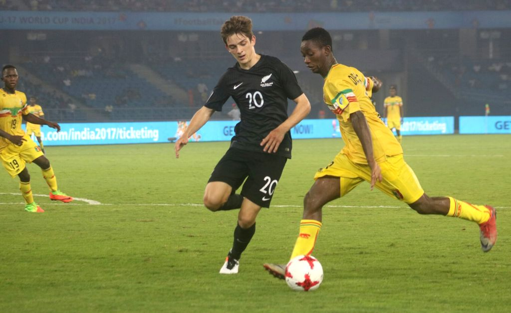 Players in action during a FIFA U-17 World Cup Group A match between Mali and New Zealand at Jawaharlal Nehru Stadium in New Delhi on Oct 12, 2017.