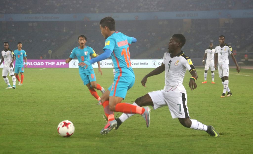 Players in action during a FIFA U-17 World Cup Group A match between India and Ghana at Jawaharlal Nehru Stadium in New Delhi on Oct 12, 2017.