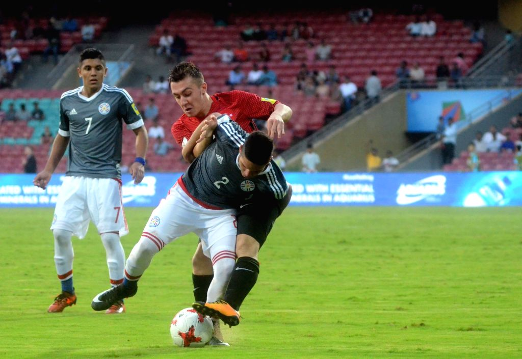 Players in action during a FIFA U-17 World Cup Group B match between Turkey and Paraguay at DY Patil Stadium in Mumbai on Oct 12, 2017.