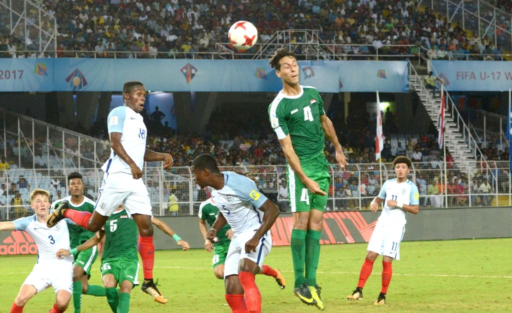 Players in action during a FIFA U17 World Cup India 2017 Group F match between England and Iraq at Salt Lake Stadium in Kolkata on Oct 14, 2017.