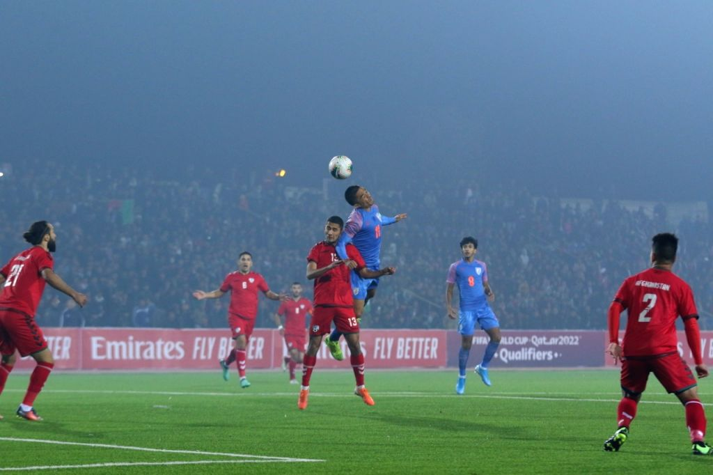 Players in action during a FIFA World Cup Qualifier match between Afghanistan and India at Central Republic Stadium in Dushanbe, Tajikistan on Nov 14, 2019.