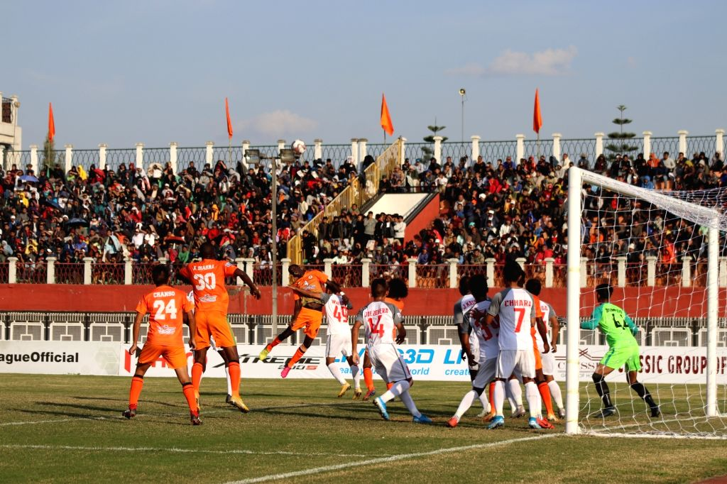 Players in action during a Hero I-League match between Neroca FC and Aizawl FC, in Imphal on Dec 6, 2019. Hero I-League 2019-20 ended in a 1-0 win for Neroca FC.