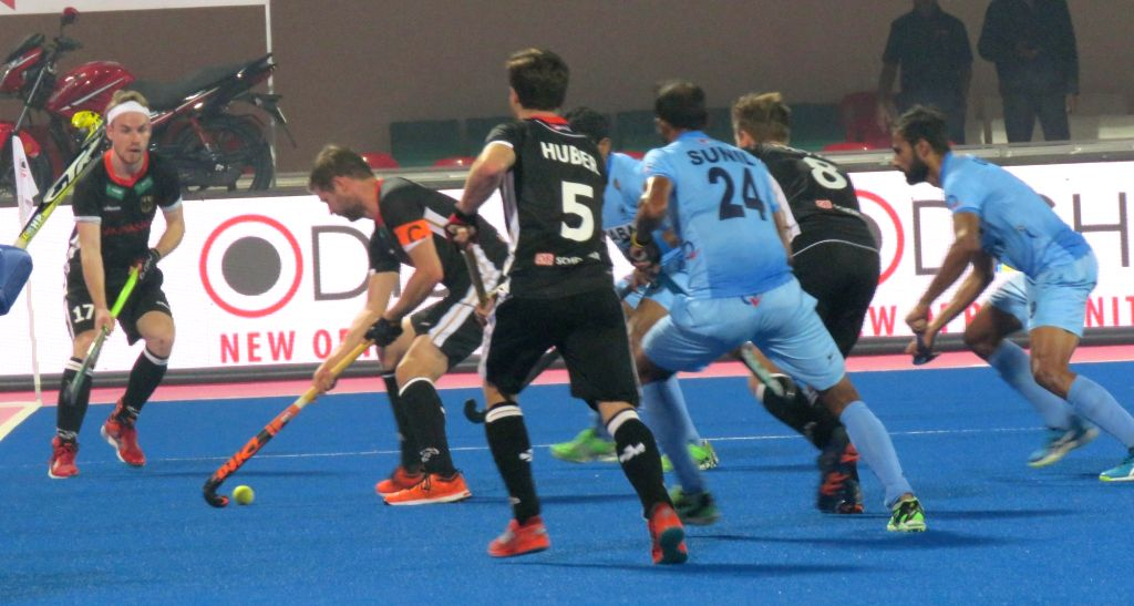 Players in action during a Hockey World League Final match between India and Germany at Kalinga Stadium in Bhubaneswar on Dec 4, 2017.