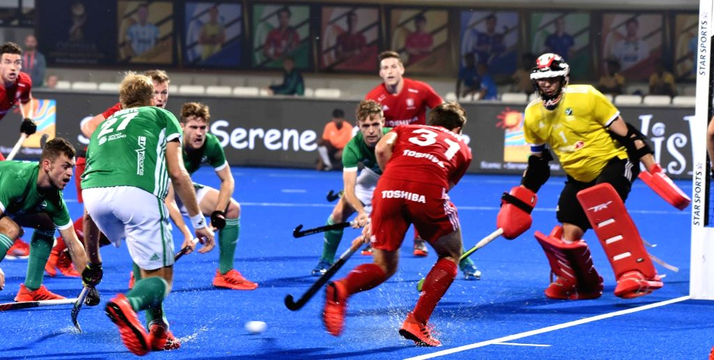 Players in action during a Men's Hockey World Cup 2018 between Ireland and England at Kalinga Stadium in Bhubaneswar on Dec 7, 2018.