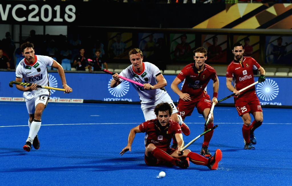Players in action during a Men's Hockey World Cup 2018 match between Belgium and Germany at Kalinga Stadium in Bhubaneswar on Dec 13, 2018.