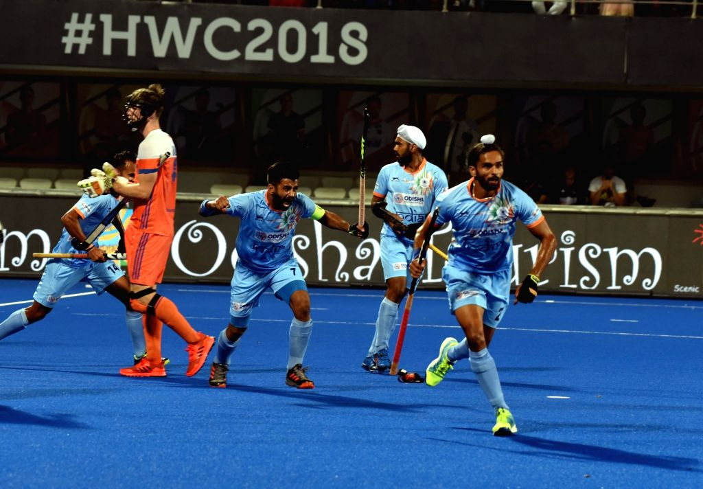 Players in action during a Men's Hockey World Cup 2018 match between India and Netherlands at Kalinga Stadium in Bhubaneswar on Dec 12, 2018.