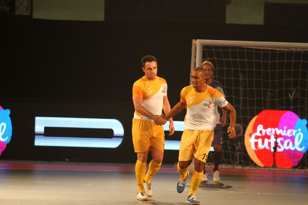 Players in action during a Premier Futsal match between Kochi and Chennai; in Chennai on July 17, 2016.