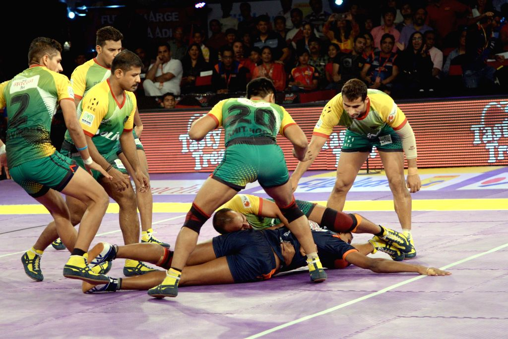Players in action during a Pro Kabaddi league match between Bengal Warriors and Patna Pirates at Kanteerava Stadium in Bengaluru, on Aug 14, 2015.