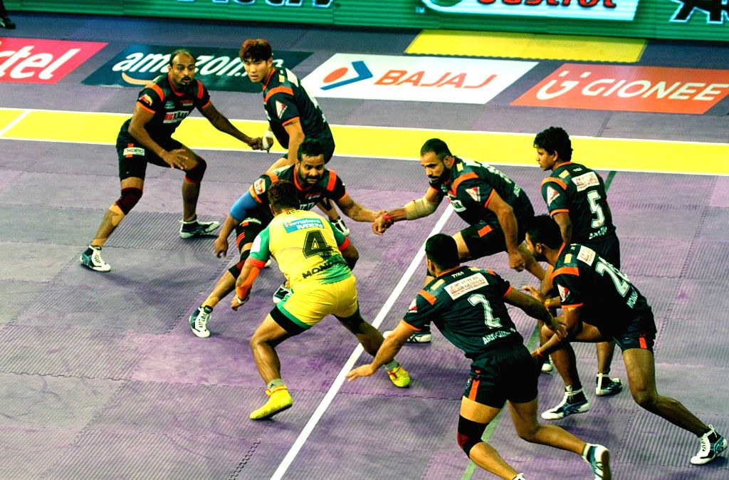 Players in action during a Pro Kabaddi League 2016 match between Bengal Warriors and Patna Pirates in Kolkata, on July 17, 2016.