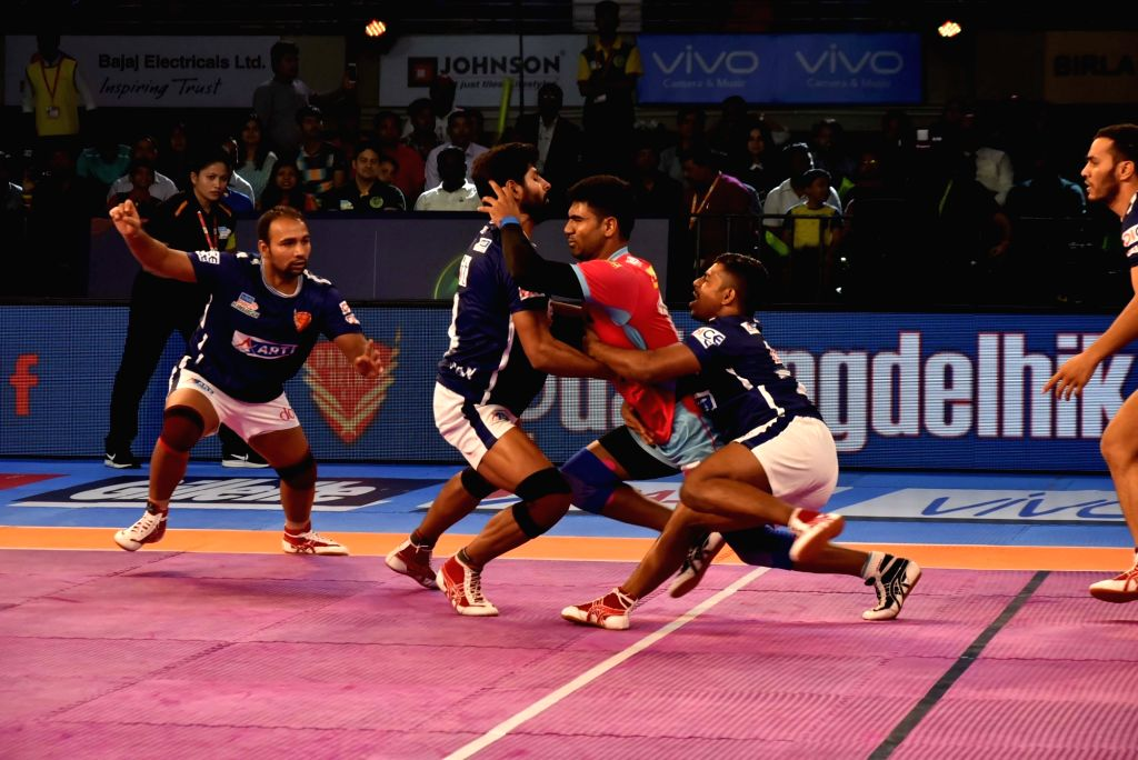 Players in action during a Pro Kabaddi League 2017 match between Dabang Delhi and Jaipur Pink Panthers at Tana Bhagat Indoor Stadium in Ranchi on Sept 17, 2017.