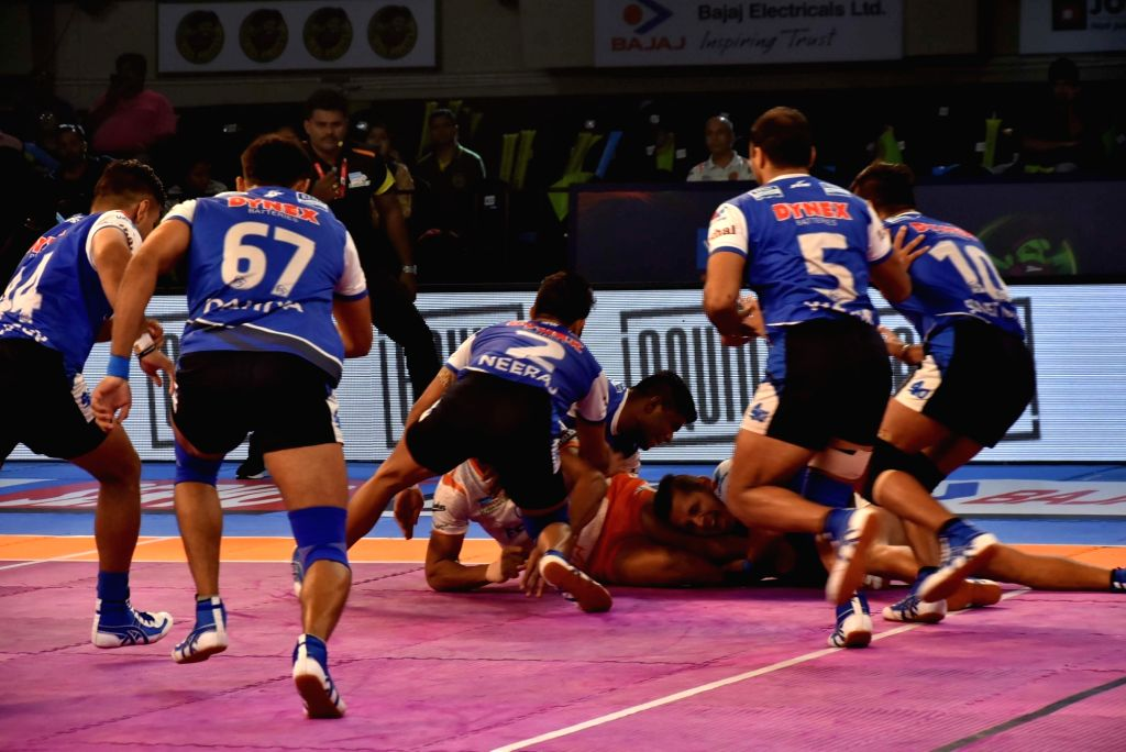 Players in action during a Pro Kabaddi League 2017 match between Puneri Paltan and Haryana Steelers at Tana Bhagat Indoor Stadium in Ranchi on Sept 19, 2017.