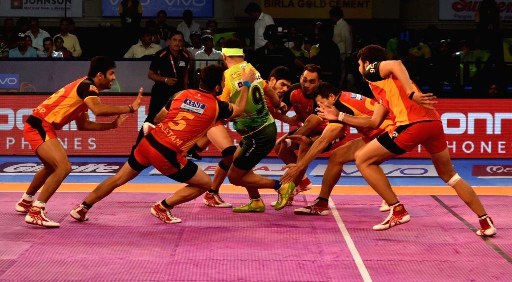 Players in action during a Pro Kabaddi League 2017 match between Patna Pirates and Bengaluru Bulls at Tana Bhagat Indoor Stadium in Ranchi on Sept 19, 2017.