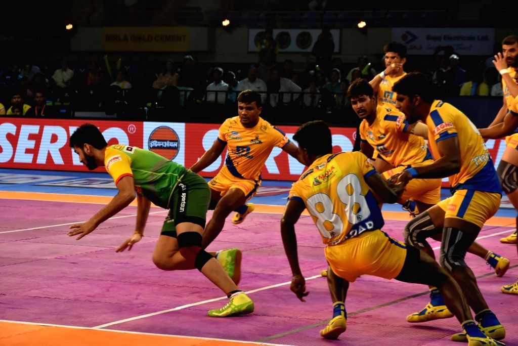 Players in action during a Pro Kabaddi League 2017 match between Patna Pirates and Tamil Thalaivas at Tana Bhagat Indoor Stadium in Ranchi on Sept 20, 2017.