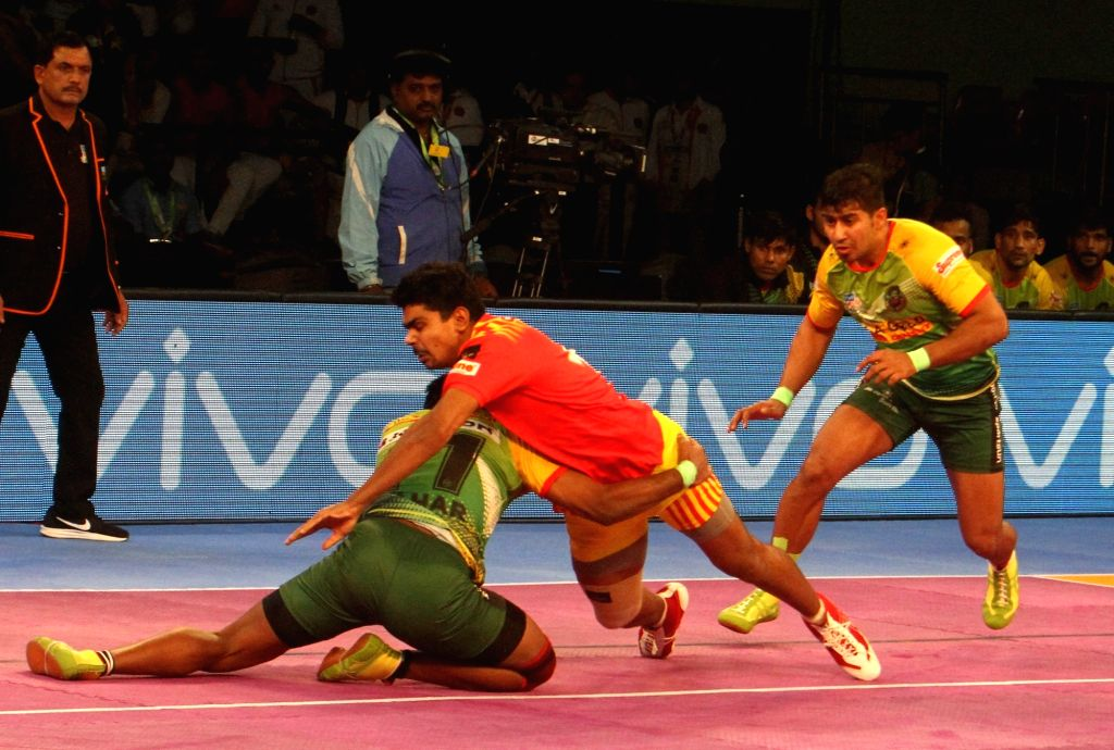 Players in action during a Pro Kabaddi League 2017 match between Gujarat Fortunegiants and Patna Pirates in Chennai, on Sept 29, 2017.