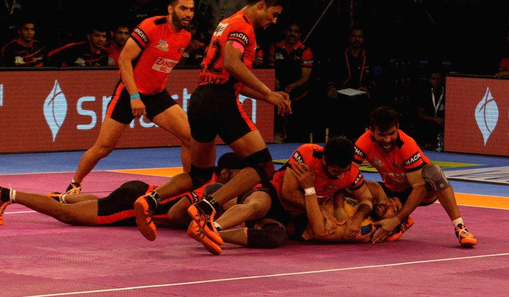 Players in action during a Pro Kabaddi League 2017 match between Tamil Thalaivas and U Mumba in Chennai, on Oct 1, 2017.