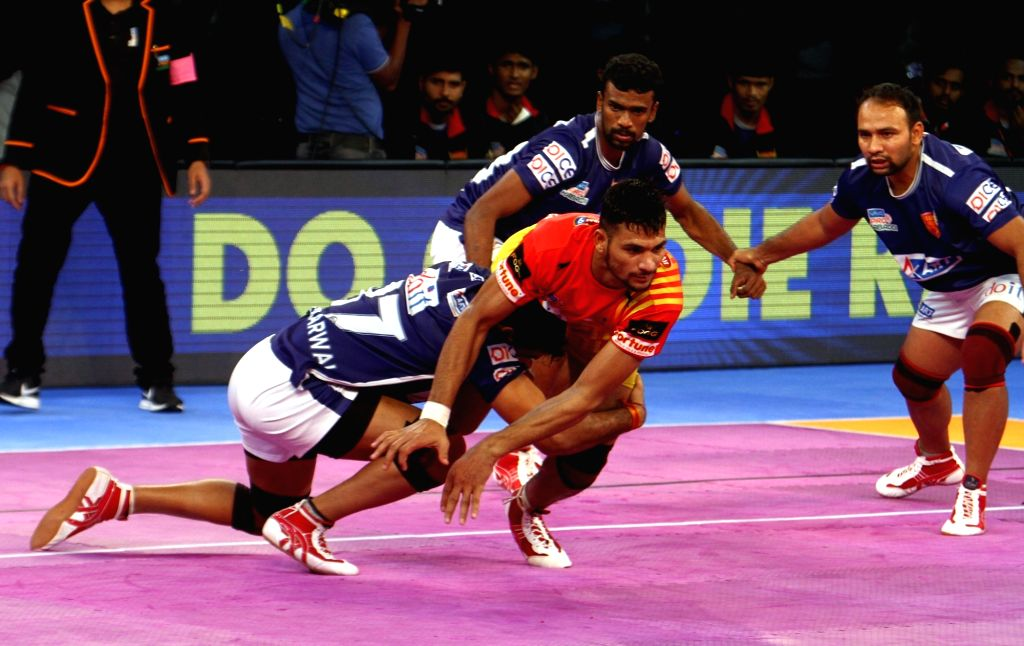 Players in action during a Pro Kabaddi League 2017 match between Dabang Delhi K.C. and Gujarat Fortunegiants in Chennai, on Oct 3, 2017.