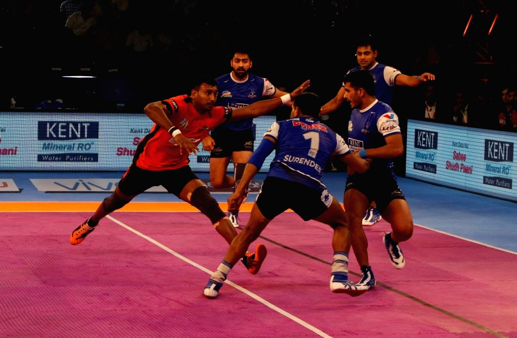 Players in action during a Pro Kabaddi League match between U Mumba and Haryana Steelers in Chennai, on Oct 4, 2017.