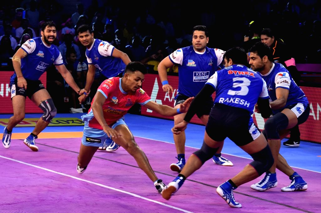 Players in action during a Pro Kabaddi League match between Jaipur Pink Panthers and Haryana Steelers in Jaipur on Oct 11, 2017.